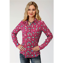 Roper Ladies Red Cactus Print Rayon Shirt