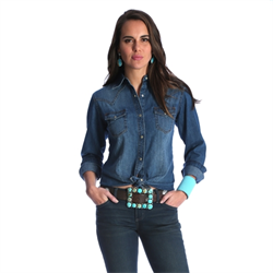 Wrangler® Checotah Fashion Top  Denim