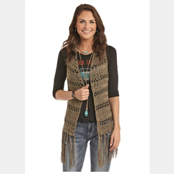 Rock and Roll Cowgirl Green Knit Vest