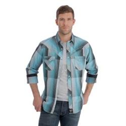 Wrangler Rock 47 Turquoise Black Grey Western Shirt