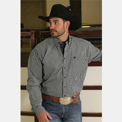 Cinch Men's Cotton Western Shirt Black/Silver Stripe