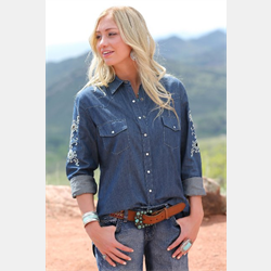 Cinch Chambray Denim Boyfriend Fit Denim Shirt