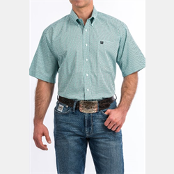 Cinch Men's Short Sleeve Aqua Black Geo Print Western Shirt