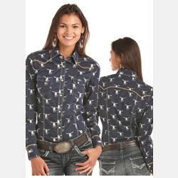 Rock N Roll Cowgirl Navy Longhorn Print Western Shirt