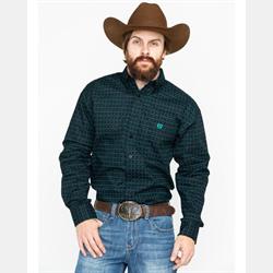 Panhandle Men's Black Green Button Down Western Shirt