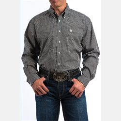 Cinch Men's Black White Fish Print Western Shirt