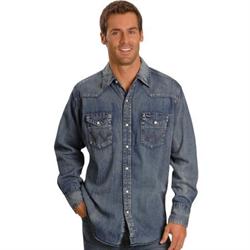 Men's Wrangler Authentic Cowboy Cut Denim Work Shirt