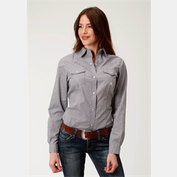 Roper Ladies Grey White Print Snap Front Western Shirt
