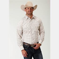 Roper Men's Beige Plaid Dobby Snap Front Western Shirt