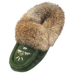 Ladies Forest Green Suede Slippers
