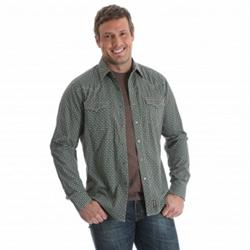 Wrangler Men's Retro Teal Tan Brown Cactus Print Western Shirt
