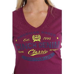 Women's Purple Cotton Jersey V-Neck Tee