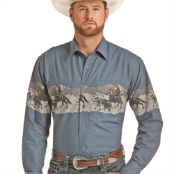 Panhandle Men's Blue Round Up Border Print Shirt