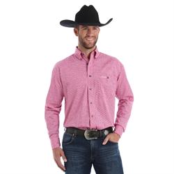 Wrangler Men's Tough Enough To Wear Pink Long Sleeve Shirt