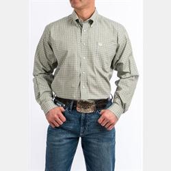Cinch Men's Tencel Gray Lime Diamond Print Western Shirt