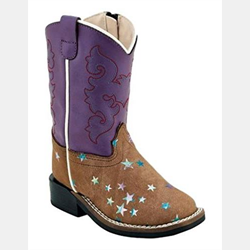Old West Toddler Purple Brown Stars Cowboy Boots