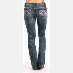 Rock and Roll Ladies Rival Turquoise and Aztec Embroidery Denim