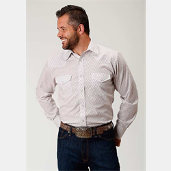 Roper Men's Wine Diamond Print Western Shirt