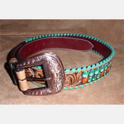Rafter T Painted Cactus Floral Tooling Turquoise Whipstitch Belt