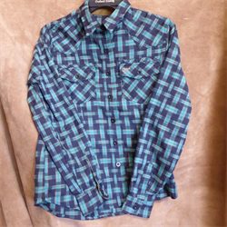 Outback Ladies Tory Green and Navy Plaid Shirt
