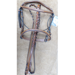ENG/BRIDLE/NOBLE/BE/1510-ET-F/FANCY PADDED BRIDLE WITH REINS TOBACCO FULL