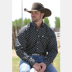 Cinch Men's Western Shirt Black with White Hollow Spots