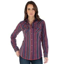 Wrangler Women's Red Serape Snap Western Shirt