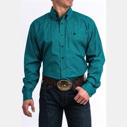 Cinch Men's Navy Turquoise Geo Print Western Shirt