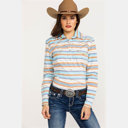 Panhandle Ladies Roughstock Multi Ombre Stripe Western Shirt