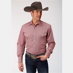 Roper Men's Wine Crossstitch Snap Western Shirt