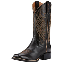 WW/BOOTS/ARIAT/10018529/LDS/SZ 10 B ROUND UP WEST LIMOUSIN BLACK