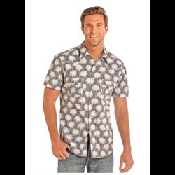 Rock N Roll Cowboy Beige Palm Tree Print Short Sleeve Shirt