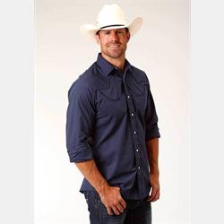 Roper Men's Navy White Pinstripe Long Sleeve Western Shirt
