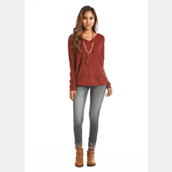 Rock N Roll Cowgirl V Neck Rust Sweater