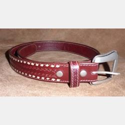 Vintage Bison Rust With Tan Backstitch Belt