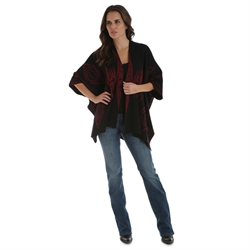 Wrangler® Western Open Front Drape Cardigan with Aztec Print