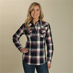 Wrangler Women's Pointed Yoke Plaid Western Shirt
