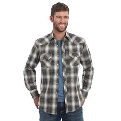 Wrangler Men's Retro Long Sleeve Brown Plaid Shirt