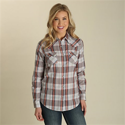 Wrangler Women's Metallic Plaid Western Snap Shirt