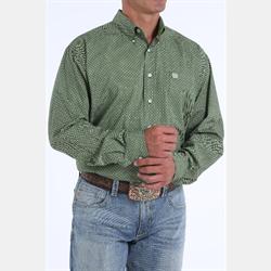 Cinch Men's Tencel Black Lime Geo Print Button Down Shirt