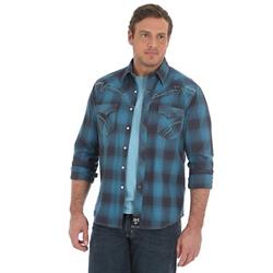 Wrangler Rock 47 Men's Legendary Look Blue Plaid Shirt