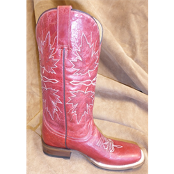 WW/BOOTS/ROPER/09-021-7005-0227/LDS/SZ 6 MAPLE LEAF BOOTS RED