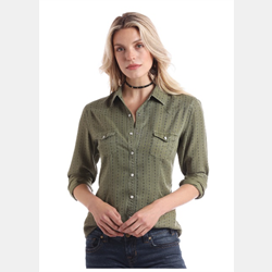 Panhandle Ladies Olive Snap Front Western Shirt