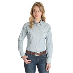 Wrangler Ladies As Real As Wrangler Navy Pin Stripe Snap Front Shirt