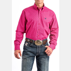Cinch Men's Pink White Geometric Print Shirt