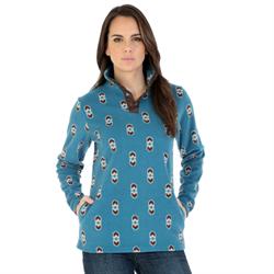 Wrangler Ladies Blue Brown Aztec Print Fleece