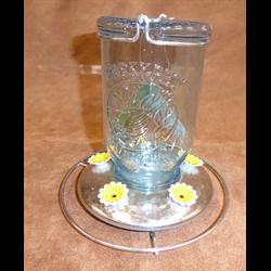 BIRD FEEDER/GS/HBF-785/VINTAGE BLUE GLASS 5 PORT 32 OZ