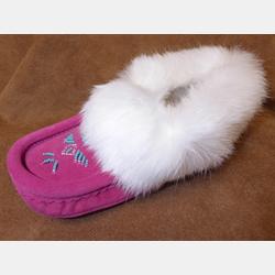 Laurentian Chief Fuchsia Fur Trimmed Slippers