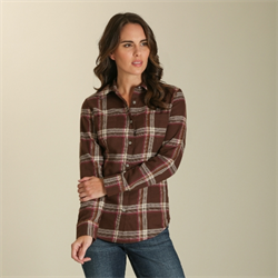 As Real As Wrangler® Chocolate Pink Flannel Top