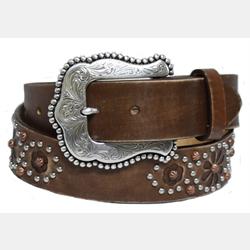 Tony Lama Ladies Nashville Nights Brown Leather Belt